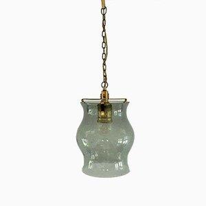 Lampe à Suspension Mid-Century en Verre et Laiton
