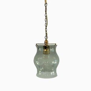 Mid-Century Glass and Brass Pendant Lamp