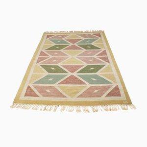 Flachgewebter schwedischer Mid-Century Teppich mit geometrischem Muster
