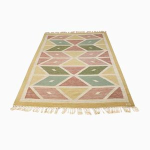 Mid-Century Swedish Flat Weave Rug with Geometrical Pattern