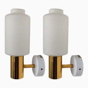 Lámparas de pared suecas de vidrio y latón de Fagerhults, años 60. Juego de 2