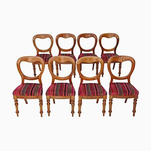 Victorian Mahogany Balloon Back Dining Chairs, 1890s, Set of 8
