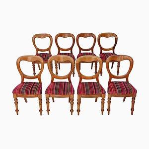 Victorian Mahogany Balloon Back Dining Chairs, 1890s, Set of 8
