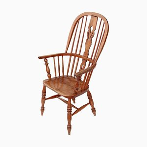 Antique Victorian Ash & Elm Windsor Armchair, 1840s