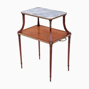 Table d'Appoint Vintage en Bois et en Marbre