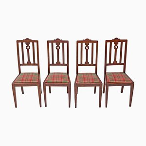 Art Nouveau Oak Dining Chairs, Set of 4