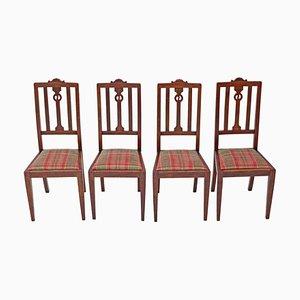 Esszimmerstühle aus Eiche im Jugendstil, 4er Set