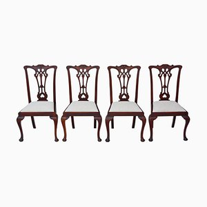 Antique Victorian Chippendale Revival Mahogany Dining Chairs, Set of 4