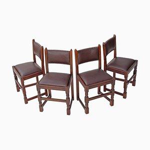 Chaises de Salle à Manger Gothique Renouveau en Chêne, 1950s, Set de 4