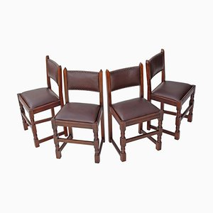 Gothic Revival Oak Dining Chairs, 1950s, Set of 4