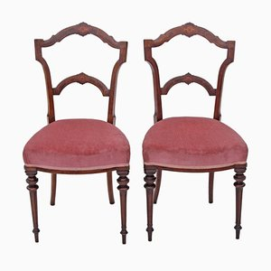 Antique Inlaid Walnut Side Chairs, Set of 2