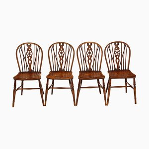 Antique Ash & Elm Kitchen Dining Chairs, Set of 4