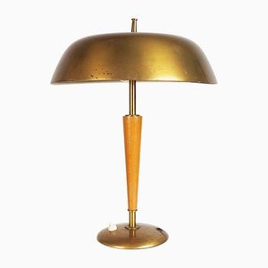 Brass and Elm Table Lamp from Nordiska Kompaniet, 1940s