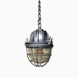 Lámpara colgante de hierro fundido y vidrio, años 50