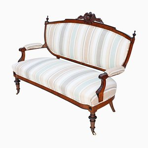 Antique Victorian Burr Walnut Sofa, 1880s