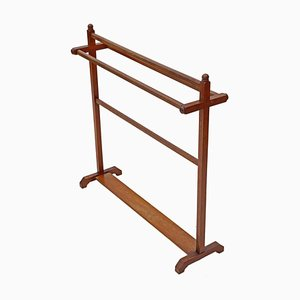 Antique Victorian Arts & Crafts Mahogany Towel Rail Stand, 1880s