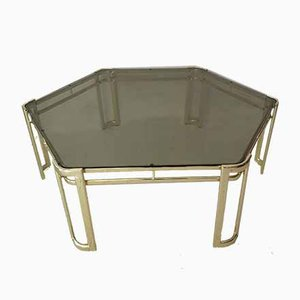 Large Hexagonal Gold Metal & Glass Coffee Table, 1970s