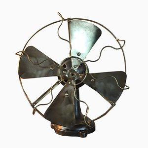 Industrial Cast Iron & Brass Fan, 1930s
