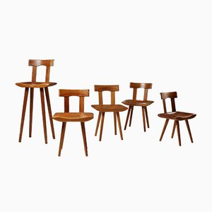 Pine Children's Chairs by Bengt Lundgren, 1960s, Set of 5