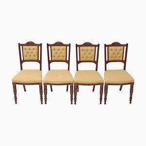 Viktorianische Salonstühle aus Nussholz, 4er Set