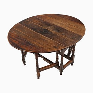 Large Antique Georgian Oak Gate Leg Drop Leaf Dining Table
