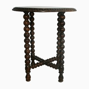Antique Round Chestnut Side Table with Turned Legs