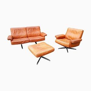 Juego de sillón giratorio DS 53, sofá DS 35 y otomana vintage de de Sede, años 60