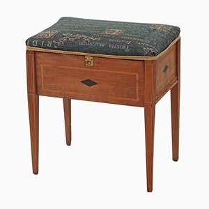Antique Edwardian Inlaid Walnut Piano Stool