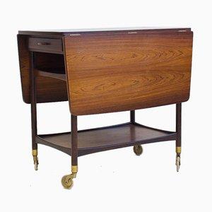 Mesa de servicio de madera con superficie de formica negra de Ludvig Pontoppidan, años 50