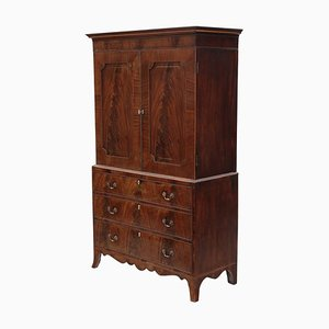 Antique Mahogany Linen Press Wardrobe