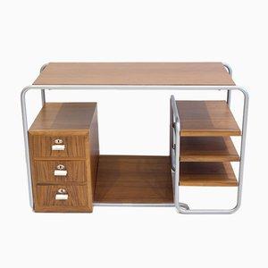 Schreibtisch mit Stahlrohrgestell & Holzplatten, 1930er