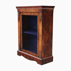 Antique Inlaid Burr Walnut Pier Display Cabinet, 1880s
