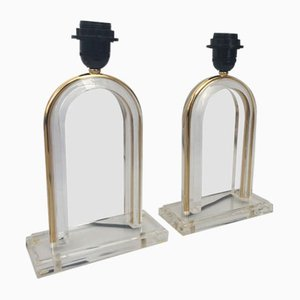Brass & Lucite Table Lamps, 1980s, Set of 2