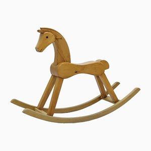 Large Vintage Lacquered Beech Rocking Horse by Kay Bojesen