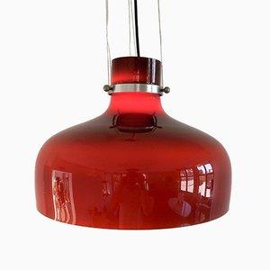 Lampada a sospensione vintage in vetro marrone-rosso, anni '70