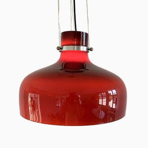 Lampe à Suspension Vintage en Verre Coloré Rouge-Marron, 1970s