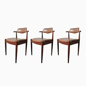 Dark Teak & Faux Leather Dining Chairs, 1960s, Set of 3
