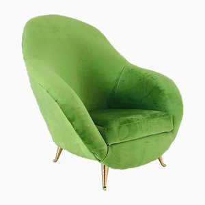 Mid-Century Italian Green Velvet Lounge Chair, 1970s
