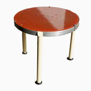 Tavolino rotondo in metallo e vetro, anni '40