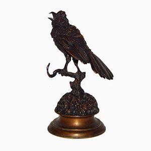 Scultura Oiseau Branché antica in bronzo di Ferdinand Pautrot