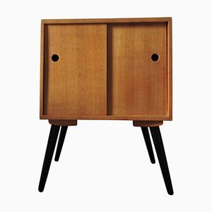 Mueble para discos de vinilo Mid-Century de roble, años 60
