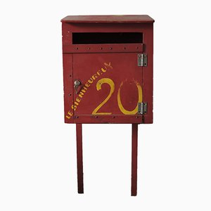 French Red Painted Mailbox, 1930s