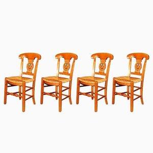 Sedie da pranzo antiche in paglia e legno di ciliegio, set di 4