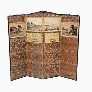 Antiker viktorianischer Chinoiserie Wandschirm aus Mahagoni, 1900er