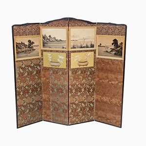 Antique Victorian Chinoiserie Mahogany Dressing Screen, 1900s