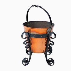Vintage Kohleeimer aus Eisen & Messing