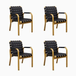 Model 45 Leather Armchairs by Alvar Aalto for Artek, 1970s, Set of 4
