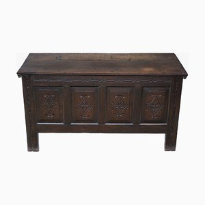 Large 18th Century Georgian Carved Oak Coffer Or Mule Chest