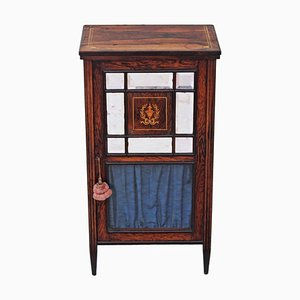 19th Century Victorian Inlaid Rosewood Music Display Cabinet