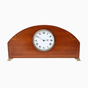 Antique Edwardian Inlaid Mahogany Mantle Clock